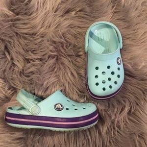 Crocs Crocband Ice Blue With Purple Pink Band